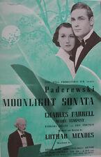 1937 PADEREWSKI PIANIST MOONLIGHT SONATA FILM PROMO TRADE ADVERTISEMENT/ POSTER