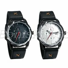 Men's Outdoor Sport Army Military 3 Time Zones Leather Band Quartz Wrist Watch