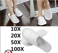 1/10/20/50/100 Pairs Towelling Hotel Slippers Closed Toe Guest Disposable Shoes