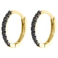 """10K Yellow Gold Real Black Diamond Prong Set Hoop Earrings 0.45"""" Huggie 0.11 CT."""