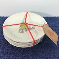 "4 Rae Dunn Magenta Christmas Tree 6"" Snack Dessert Plates Set w/ Blank Gift Tag"
