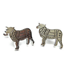 Butchers Cuts of Meat Lamb / Sheep / Mutton Mens Gift For him Cufflinks