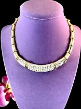 FAB CINER 18K GOLD PLATED BAMBOO DESIGN CHOKER NECKLACE PAVE RHINESTONE PENDANT