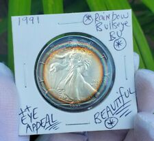 1991 American Silver Eagle Coin Natural Rainbow Color Target Toned - 1oz .999 🌈