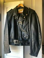 1980's SCHOTT PERFECTO Black Leather Motorcycle Jacket Size 42