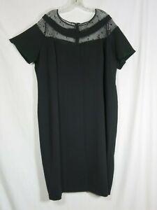 Marina Rinaldi Black Shift Dress Cap Sleeves Crochet Neckline Lined Plus 22W