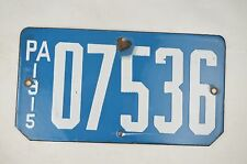 1915 Porcelain Pennsylvania Motorcycle License Plate Very Good Condition