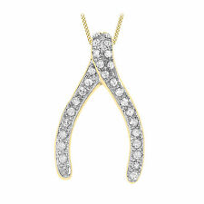 "9ct Yellow Gold Diamond Wishbone Pendant On 18"" Curb Chain Inc Gift Box"