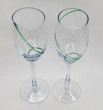 Wine Glass Set Teal Spiral - Hand Blown
