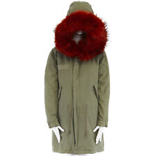 MR & MRS ITALY orange fur hood pink wool green army long parka jacket coat XS