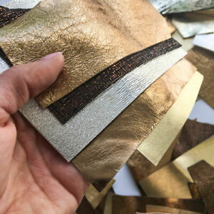 GOLD leather REMNANTS Bronze leather material pieces for DIY Sheep skin leather