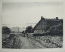 Sigvard Hansen, etching. Evening landscape with figures on a road 1899