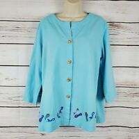 Natalie & Me Weekend | Blue Linen Blend Top Shoes Embroidered Beaded Size Large
