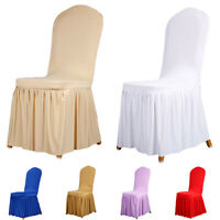 GI- Ruffled Elastic Full Dining Chair Cover Hotel Restaurant Wedding Party Decor