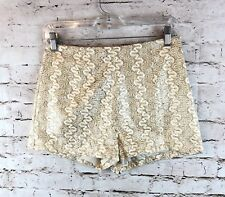 Womens Mustard Seed Medium Shorts Gold Cream Brocade Glitter Embroidered Sparkle