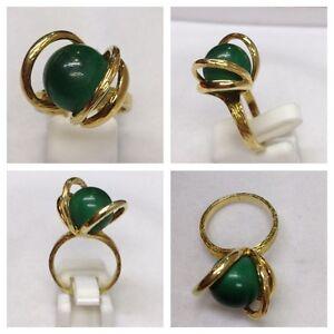 Auffälliger Goldring 585er Gold Ring mit Malachit Malachitring