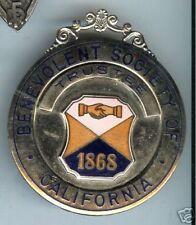 old BENEVOLENT SOCIETY of CALIFORNIA Badge hallmarked