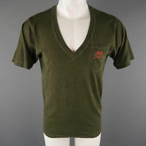 DSQUARED2 Size S Olive Dyed Cotton V-neck T-shirt