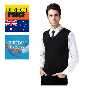 Mens Wool Business Vest Sweater Jumper Knitted Office Pullover V Neck Black Navy