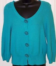 CHAUS Sweater Cardigan  Aqua Turquoise 100%  Cotton Size Small