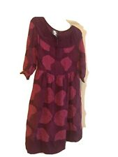 Girls from Savoy Anthropologie Bouquet Toss Dress Sz 0 100% Silk Purple Magenta