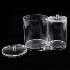 2 Sections Bathroom Vanity Canister Jar Dispenser Cotton Ball Organizer Box