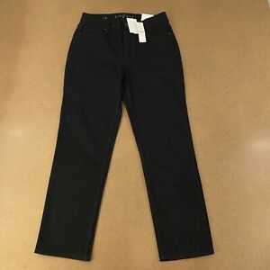 White House Black Market Women's Size 8 Black High Rise Straight Crop Jeans NWT
