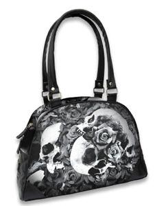 Liquor Brand Doomed Skulls Floral Roses Flowers Gothic Punk Bowler Handbag Purse