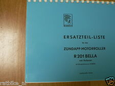 Z0021 ZUNDAPP---ERSATZTEILLISTE---R201 BELLA MIT ANLASSER MOTORROLLER AB FG.R800