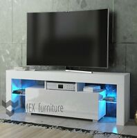Modern TV Unit 130cm Cabinet White Matt and White High Gloss Doors FREE LED