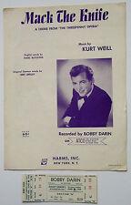 "Bobby Darin Original 1962 Unused Concert Ticket and ""Mack the Knife"" Sheet Music"