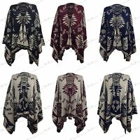 NEW WOMENS LADIES AZTEC PRINT WRAP CAPE REVERSIBLE KNITTED SHAWL KIMONO CARDIGAN