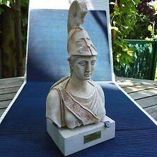 Belle Statue Athéna Pirée Socle Plâtre Mélangé Fab. Main 29 x15 x11 Cm 1,910 Kgs