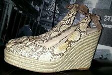 Coach Maritza Python  Snakeskin Bow Espadrilles Wedge Sandals Wedges Sz 10 B