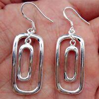 925 Sterling Silver Earrings Pierced Drop Dangle Modern Handcrafted Artisan Hoop