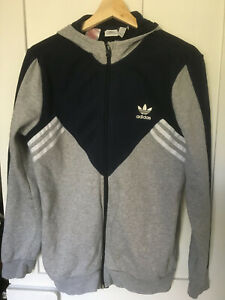 Adidas Originals Youth Boys Hooded Jacket Hoodie Top Navy Grey Size 15-16 yrs XS