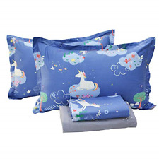 Abreeze 4 Pieces Queen Size Unicorn Bed Sheets Pillowcases Stars Printed Fitted