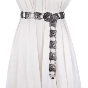 Women Ladies Floral Metal Waist Belt Waistband Chains Vintage Silver Fashion New
