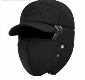 Winter Hat Thermal Bomber Hats Men Women Face Ear Protection Windproof Ski Cap