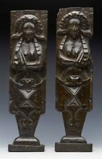 ANTIQUE PAIR CARVED WOOD FIGURAL ARCHITECTURAL MOUNTS 17TH C.