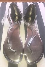 NWT Mossimo Thong Pewter Silver Zipper Sandals Flip Flops Padded Insole Sz 8.5