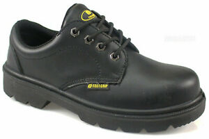 MENS BLACK LEATHER  STEEL TOE CAP SAFETY WORK ANKLE TRAINERS SHOES BOOTS size 8