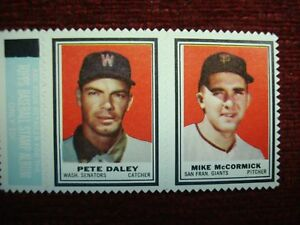 1962 TOPPS STAMP PANEL PETE DALEY & MIKE MCCORMICK - WELL CENTERED & NICE!