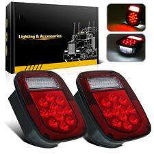 2PCS LED Tail Light Brake Reverse Turn Signal For Jeep Wrangler TJ CJ 76-06 Lamp