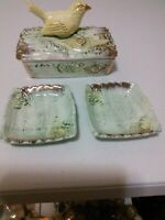 Vintage Ucagco Hand Painted Covered Dish with Yellow Bird Goldfinch on Top with