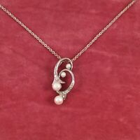 Vintage Jewellery White Gold Chain Necklace with Pearls and Diamonds Jewelry