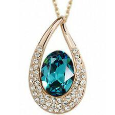 """Rose gold finish turquoise pendant 20"""" 50cm necklace quality jewellery UK bridal"""
