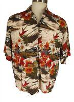 Paradise Found x Lucky Brand Mens Tan Floral Rayon Hawaiian Shirt L