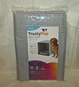 """NEW Trusty Pup COZY COVE Crate Cover Large Fits 42"""" Crates -Gray - DOG"""