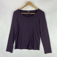 Eileen Fisher Womens PS Petite Scoop Neck Long Sleeve T-Shirt Purple Rayon